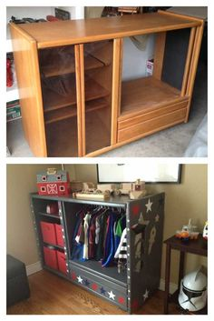 Dress up closet Refurbished Furniture, Repurposed Furniture, Furniture Makeover, Dresser Repurposed, Diy Kids Furniture, Dress Up Stations, Dress Up Closet, Toy Rooms, Diy For Kids
