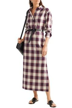 ELIZABETH AND JAMES ELIZABETH AND JAMES WOMAN BADGLEY CHECKED COTTON MAXI SHIRT DRESS VIOLET. #elizabethandjames #cloth