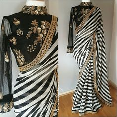 Buy Gorgeous Black-White Striped Designer Georgette Saree at Rs. Get latest Partywear Saree for womens at Peachmode. Black And White Saree, Black Saree, Black White, Red Saree, White Zebra, Indian Dresses, Indian Outfits, Sari Bluse, Indian Designer Wear