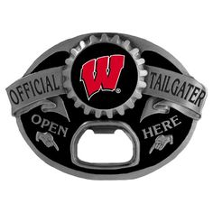 """Checkout our #LicensedGear products FREE SHIPPING + 10% OFF Coupon Code """"Official"""" Wisconsin Badgers Tailgater Belt Buckle - Officially licensed College product Fully cast, metal buckle Bail fits belts up to 2 inches wide This unique buckle comes with a bottle opener Wisconsin Badgers buckle - Price: $25.00. Buy now at https://officiallylicensedgear.com/wisconsin-badgers-tailgater-belt-buckle-scb51tg"""