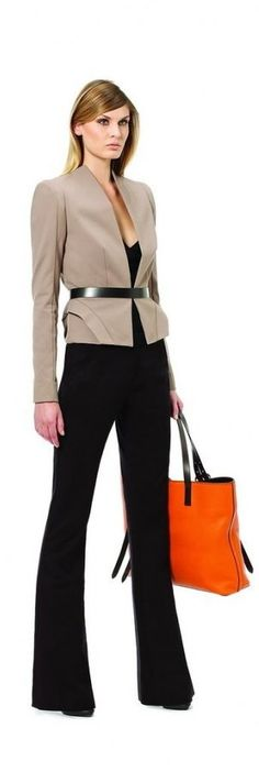 Strong, yet minimal silhouette. Love the belt at the waist. Add more professional, higher neckline top underneath for office wear.