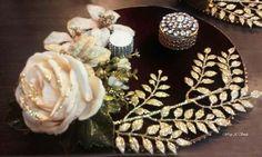 Engagement Decorations, Indian Wedding Decorations, Wedding Reception Decorations, Wedding Plates, Wedding Art, Wedding Gift Wrapping, Wedding Gifts, Engagement Ring Platter, Thali Decoration Ideas