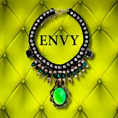 THE COLOUR OF ENVY...the princess Araya collar - regal emerald green velvet, encrusted with faux diamonds, emeralds and gold punk bullets sporting an acid green, multi-faceted pendant. One-off, hand made costume jewellery. Fully adjustable with lobster claw catch - Lust no more.. http://www.foundling.com.au/collections/accessories-siam-punk-range/products/princess-araya