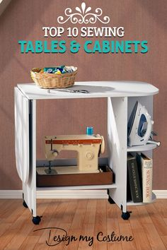 61 Ideas Sewing Machine Cabinet Diy Small Spaces For 2019 Vintage Sewing Table, Diy Sewing Table, Sewing Machine Tables, Diy Table, Table Desk, Table For Small Space, Small Spaces, Singer Sewing Tables, Sewing Cabinet
