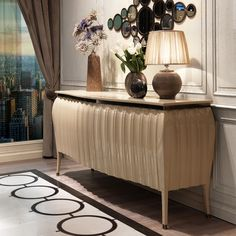 Designer High Gloss Lacquered Sideboard Buffet