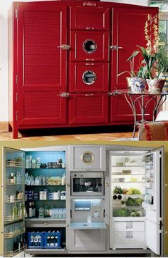 This is an Italian refrigerator!  Isn't it cool? The center section when open is a built in espresso!  Gotta have it one day.