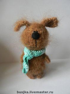 Купить Собака вязаная Рэксик - собака, вязаная собака, вязаная игрушка, пес, песик, коричневый