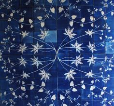Gorgeous tiles; would solve the problem of the door hitting framed art in the bathroom. [Glithero Blueware Tiles]