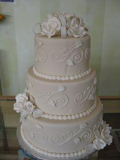 Cake, Roses, Ivory, Fondant, Round, Bow, Sugar, Simply cakes, ltd