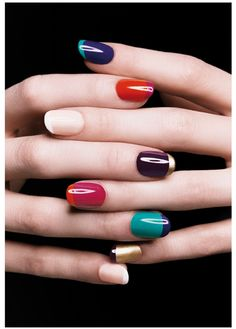 Multicolored nails! oh, how fun!