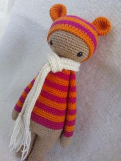 Bear mod made by OlgaMaria / based on a Lalylala crochet pattern ♡ Crochet Doll Clothes, Knitted Dolls, Crochet Dolls, Crochet Yarn, Baby Sewing Projects, Crochet Projects, Sewing Crafts, Amigurumi Patterns, Amigurumi Doll