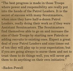 Today's edition of The Scout's Scrapbook is a quotation from the founder of Scouting, Baden-Powell, which I found particularly powerful: In this quote, Baden-Powell is very clear on the… Boy Scout Troop, Scout Leader, Cub Scouts, Tutorial Sites, Tutorials, Secret To Success, The Secret, Scout Quotes, Scrapbook Cards