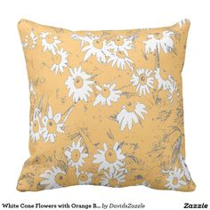 White Cone Flowers with Orange Background Throw Pillow  Available on more products, type in the name of this design in the search bar on my products page to view them all!  #daisy #cone #shasta #calendula #floral #flower #orange #gray #grey #blue #pattern #print #all #over #abstract #plant #nature #earth #life #style #lifestyle #chic #modern #contemporary #throw #pillow #home #decor