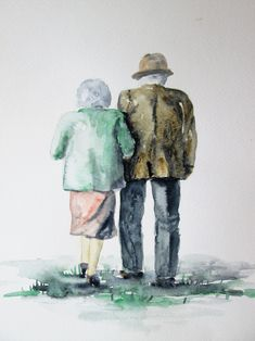 couple elderly paintings walking together each romantic artwork being couples drawings sketch simple anniversary sold sorry did internet