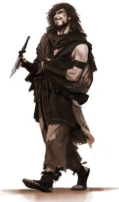A wandering refugee, a rogue and bandit, operating solo. He cons, robs, or kills anyone who makes a worthy mark.