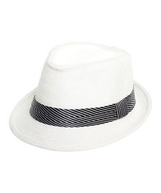 Love this White & Black Stripe Ribbon Hat by Milly & Max on #zulily! #zulilyfinds