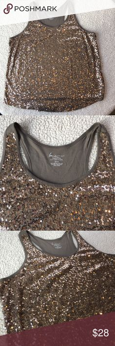 """NWOT Lane Bryant Tan/Copper Sequined Tank Beautiful racer back tank. NWOT, sequins are in place and not missing. Stretchy and soft. Great going out piece. Approx measurements laying flat. Armpit to armpit 25"""", shoulder to front hem: 31"""" Lane Bryant Tops Tank Tops"""