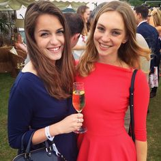 Beautiful Sophie Pumfrett wearing our elegant flared dress, Danielle in red at British Polo Day! http://www.sdress.com/product/danielle/