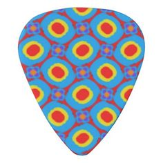 RedYellow and Blue Folk Art Abstract Dots Pattern Guitar Pick