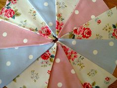 HANDMADE BUNTING WITH CATH KIDSTON FIELD ROSE FABRIC CLARKE DOTTY PINK BLUE