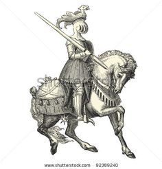"stock vector : Knight of the Middle Ages - vintage engraved illustration - ""Costumes anciens et modernes "" by Cesare Veccello ed.Firmin-Didot  in 1859 - Paris"