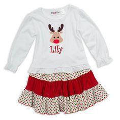 White Cotton Christmas Dot Red Corduroy Skirt Set