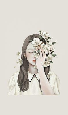 Imagem de girl, art, and flower