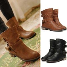Chic Womens Retro Chunky Low Heel Buckle Combat Military Pull On Mid Calf Boots