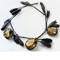 Necklace by Georg Dobler. Oxidized silver, citrines.