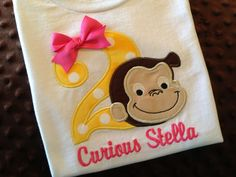 Pink Curious George Birthday Shirt or Onesie by Bethysboutique, $20.00