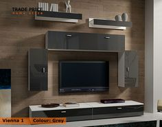 IKEA TV Wall Units | TV Wall Units TV Cabinets TV Stand - Grey High Gloss Modern Furniture ...