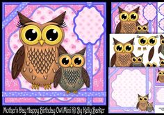 Fathers Day Happy Birthday Owl Pink Bow Mini Kit on Craftsuprint - View Now! Happy Birthday Owl, Little Owl, Square Card, Fathers Day, Gift Tags, Decoupage, Card Making, Bows, Kit
