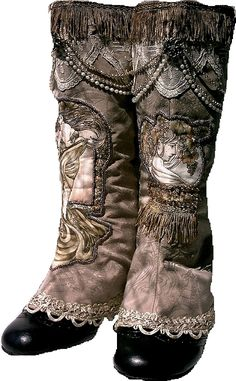 Decorated boots - women's - Edwardian