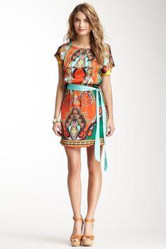Cap Sleeve Belted Print Dress