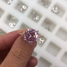 Louilyjewelry Rose Gold Light Pink Cushion Cut Engagement Ring with Hidden Halo Cushion Cut Engagement Ring, Perfect Engagement Ring, Beautiful Engagement Rings, Halo Engagement, Rose Gold Lights, Pink Cushions, Pink Sapphire, Nursing Wallpaper, 925 Silver