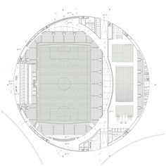 Image 4 of 8 from gallery of Sports Complex and Urban Re-design / gmp Architekten. floor plan level 1, football stadium and swimming complex