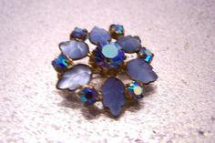 Vintage Baby Blue Leaf and Aurora Borealis by JewelsAndMyGirls3, $12.75