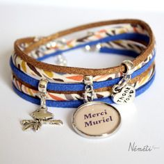 Bracelet liberty karter médaille cabochon prénom / texte personnalisable - bracelet liberty bleu mordoré beige multicolore