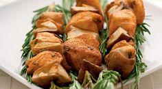 Skewers of mushrooms and chicken