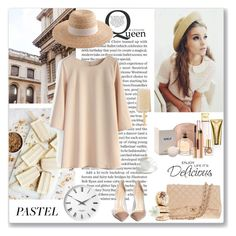 """Pastel"" by ludmyla-stoyan ❤ liked on Polyvore featuring Laundry, Chicwish, Chanel, J.Crew, Georg Jensen, Michael Kors, Lanvin, Estée Lauder, Sur La Table and Yves Saint Laurent"