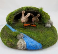 Needle Felted Play Mat - Rabbit Warren. $60.00, via Etsy.