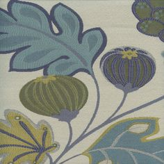 Eden Seaglass Blue Green Floral and Fruit Upholstery Fabric - 48504 | BuyFabrics.com