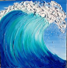Buy Original Art and Prints from Artists Cute Canvas Paintings, Canvas Art, Acrylic Art, Acrylic Painting Lessons, Wave Art, Sea Art, Watercolor Art, Art Drawings, Crafts