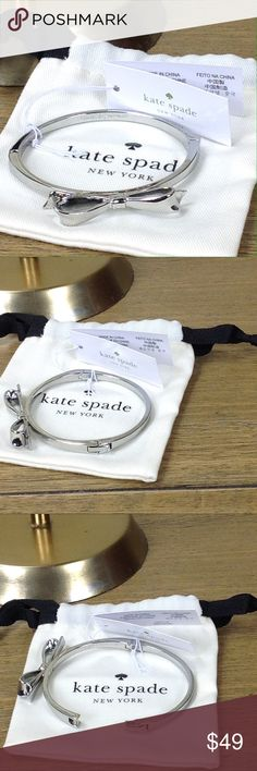 Kate Spade Silver Tone Bow Bracelet NWT 100% authentic Kate Spade silver tone rhodium bow bracelet is perfect for layering.  In excellent condition with no visible scratches or marks. Side clasp with hinge opening. Thanks for your interest!  Please checkout the rest of my closet. kate spade Jewelry Bracelets