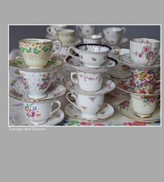 Lovely mismatched cups and saucers