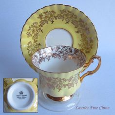 Free Shipping Royal Albert Un-Named 4253 Yellow with Gold Details Bone China Tea Cup and Saucer by LauriesFineChina on Etsy