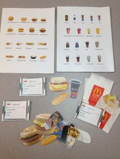 Fast Food Orders Task-The fast food order task is a great vocational task to introduce customer service and following orders.The students fill each order and place them in individual fry packages for us to check when finished. First step is to make visuals of menu items from a fast food restaurant of your choice onto 8x11 cardstock. Next make separate items that correspond with your visual for the students to pack orders with. I made several different order cards that....