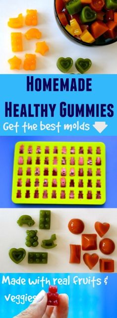 Homemade Healthy Gummies! Say goodbye to store bought unhealthy fruit snacks full of sugar and artificial colors! Great fun food snack idea!