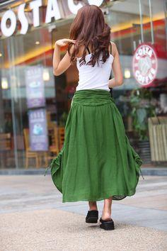 Summer Maxi skirt Long  Linen Skirt In Forest