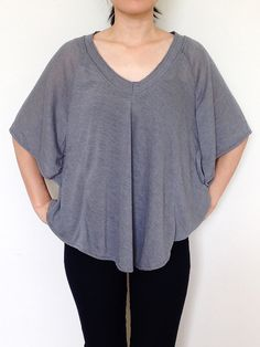 SC007 Dark Gray Women Blouse Dolman T Shirt Dolman by SaucyCloset, $24.50